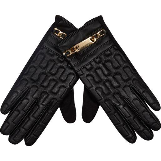 Black leather gloves, love sales, river island sale